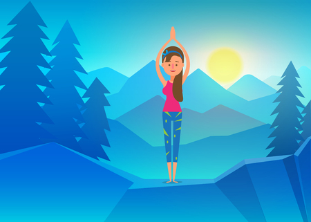 Vector yoga illustration, Young girl doing yoga on top of mountain. Calm and cool environment. Healthy active lifestyle. Digital character illustration. Illustration