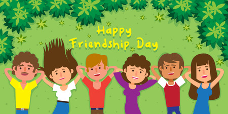 Happy Friendship Day! Girls and boys all friends are together enjoying friendship day, holiday. Healthy active lifestyle. Digital character illustration.