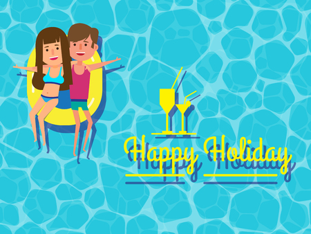 Happy couple holiday on swimming pool with cocktail. Couple happily spending holiday, enjoying honeymoon together floating on swimming pool. Healthy active lifestyle. Digital character illustration.