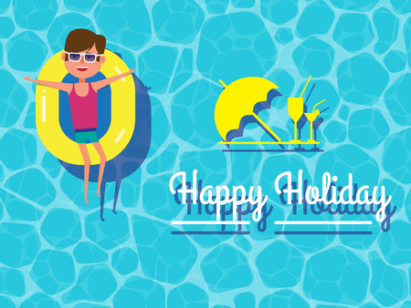 Happy holiday, young guy floating on swimming pool, cocktails, holiday card. Healthy active lifestyle. Digital character illustration. Vector cartoon.