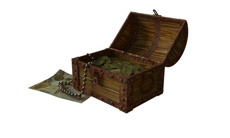 Treasure chest with treasure 3D rendering Stock Photo