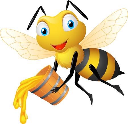 Pszczoła z miodem wiadra