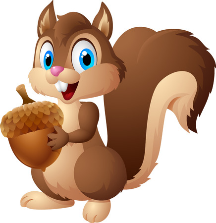Carton squirrel holding acorn