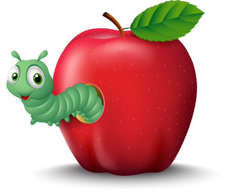 Cartoon worm coming out of an apple Illustration