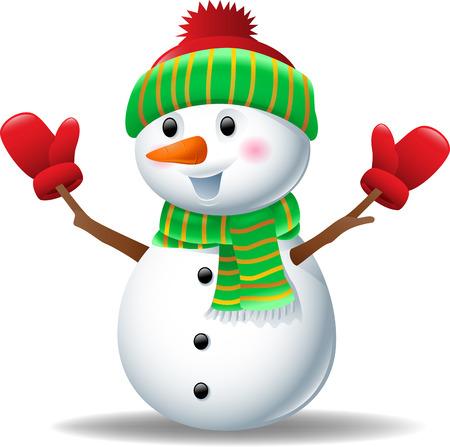 bonhomme de neige: bonhomme de neige de bande dessin�e portant un chapeau et des gants