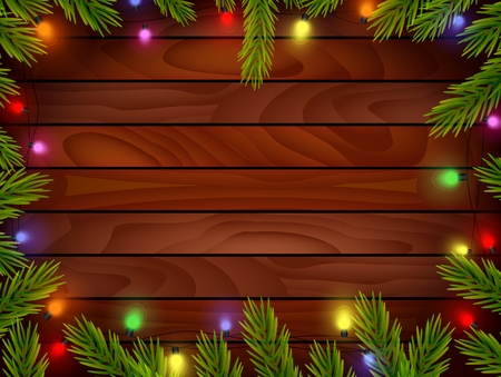 harsh: Cartoon Planked wood with Christmas ornament Illustration