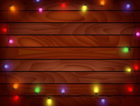 harsh: Cartoon Christmas background - Planked wood with lights