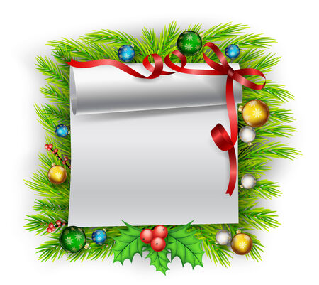 Blank paper with Christmas decoration Vector