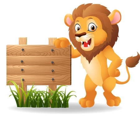 Cartoon lion with signboard