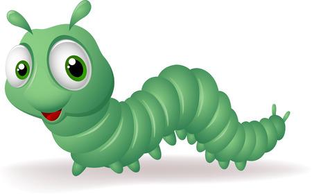 larvae: Green cartoon caterpillar Illustration