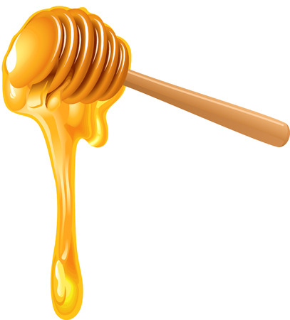 Honey dripping from wooden honey dipper Vectores