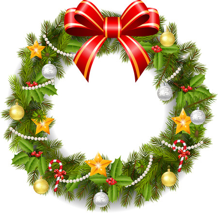 Traditional green Christmas decoration Vector
