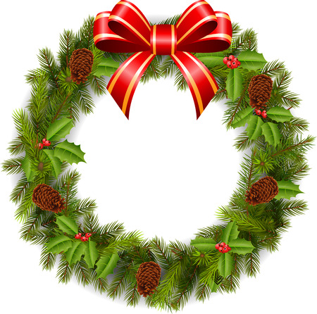 christmas wreath: Traditional green Christmas decoration
