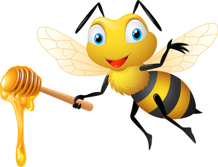 Cute bee holding honey dipper Vectores