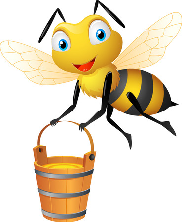 insects: Cartoon bee carrying honey bucket