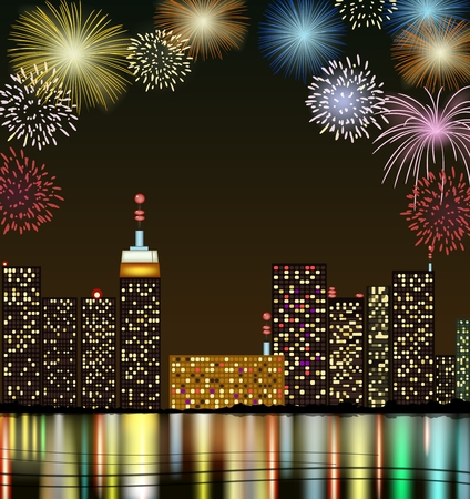 fireworks show: City at night with fireworks Illustration
