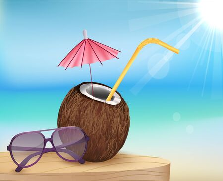 cancun: summer beach, glasses with young coconut