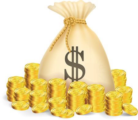 Illustration of gold coin with bag of money Vectores