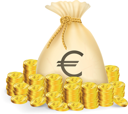 Illustration of gold coin with bag of money Illustration