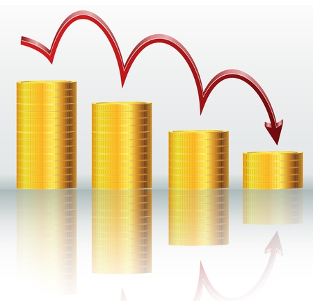 downsizing: Financial concept, declining graph