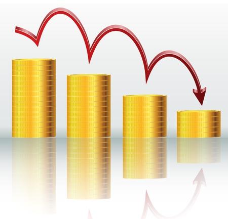 Financial concept, declining graph
