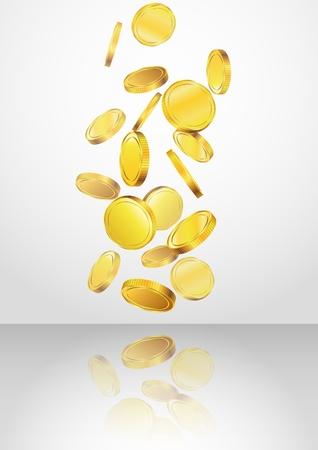 Conceptual design of falling golden coins Illustration