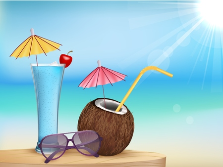 cancun: Illustration vector summer beach juice, glasses with young coconut