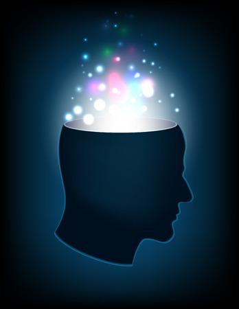 oscillation: illustration vector head of the human mind