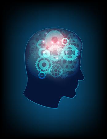 의식: Abstract design human head and symbolic elements on the subject of human mind, consciousness, imagination, science and creativity 일러스트