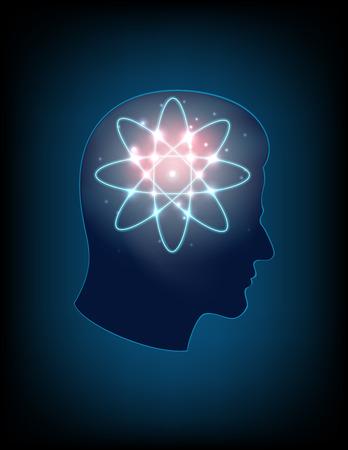 atomic symbol: Human head silhouette and atomic symbol