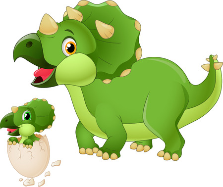triceratops: Mother triceratops with baby hatching