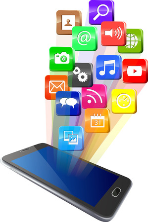 touchscreen: Touchscreen smartphone with cloud of colorful application icons Illustration