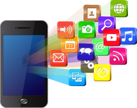mobile phones: Touchscreen smartphone with cloud of colorful application icons Illustration