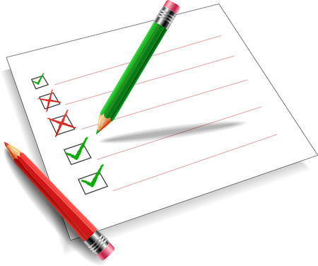 checklist icon: Pencil green and red background white.