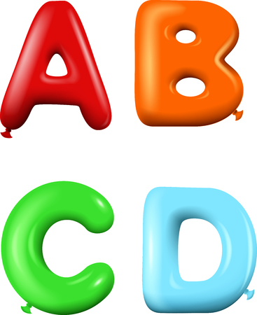 word balloon: Multicolored Cartoon  alphabet Illustration