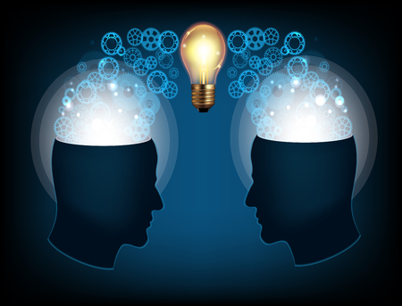 two minds: Two profile faces with light bulb Illustration