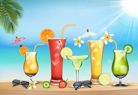 jugo de frutas: Ilustraci�n del d�a en la playa con el jugo de las bebidas de frutas