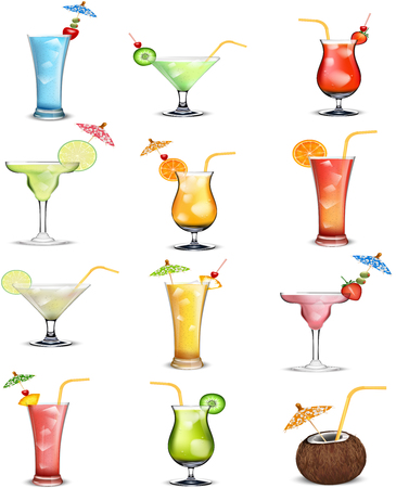 Illustration of drinks fruit juice collections