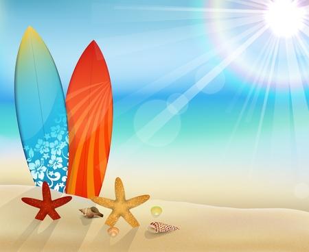 Illustration of daytime with starfish Ilustração
