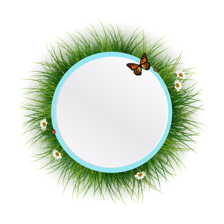 Circle frame with green grasssunlight and batterfly Vector