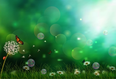 fields: Sunny background with three butterflies Illustration