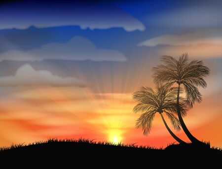 beach sunset: Sunset on the beach Illustration