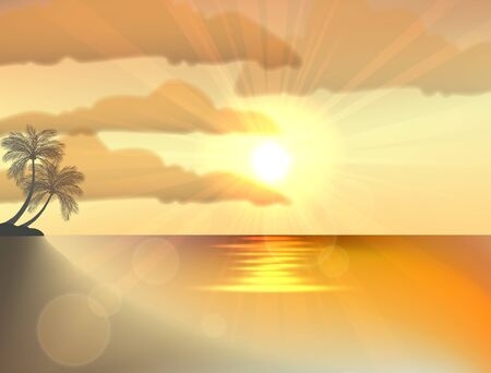 beach sunset: Two palm trees on sunset tropical beach Illustration
