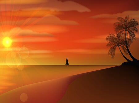 dreamland: Classic old sailboat on a sunset skyline sky light background with palm tree on foreground