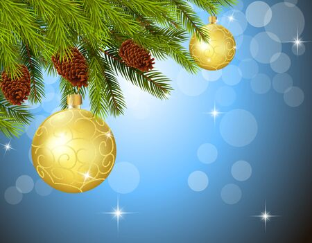 decorated christmas tree: Christmas background with decorated Christmas tree