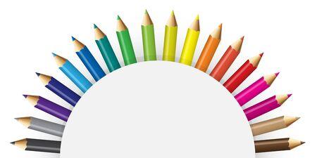 semicircular: Pencils colour with semicircular concept