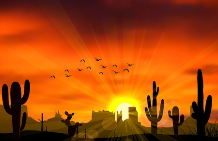 animales del desierto: Ilustración del árbol de cactus cuando la puesta de sol