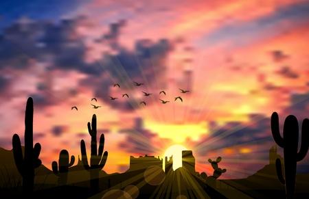 saguaro: Illustration of cactus tree when the sunset Stock Photo