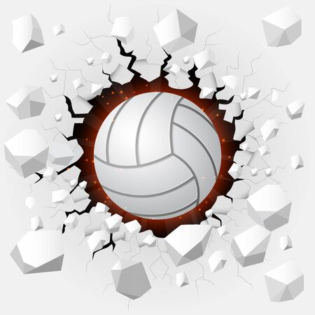 bumpy: Volleyball and with wall damage Stock Photo