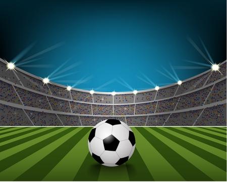 futbol soccer: Balón de fútbol en el campo del estadio con la luz